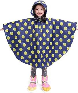 LOHASCASA Kid's Durable Rain Poncho Waterproof Raincoat with Hood