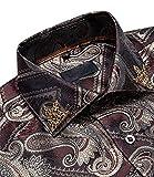 BLACKHEI Camisa de vestir de manga larga casual de Paisley azul real para hombre, Cy-2009-xz0014, XL