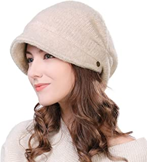 Siggi Wool Knitted Visor Beanie Winter Hat for Women Newsboy Cap Warm Soft Lined