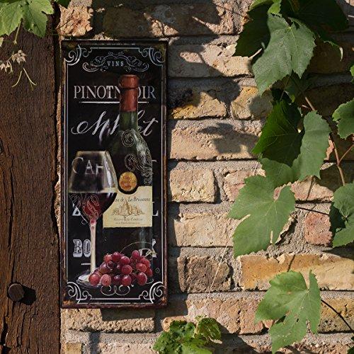 Antikas - Blechschild mit Weinglas und Weinflasche, Gastronomie Dekoration, Weinlokal Bild