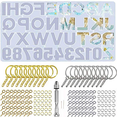BOIU Resin Casting Set Number Silicone Molds DIY Letter Alphabet Silicon Kit for Key Chains, Necklaces, Pendants