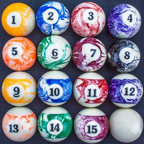 Marbled Pool Table Billiard Ball Set by Felson Billiard Supplies