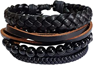 RICH AND FAMOUS Leather Wrist Band Bracelet Combo Set for Boys/Girls/Men/Women (Set of 4)