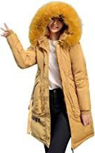Mlide Women's Down Coats Hoodise Letter Printing Winter Parka Warm Outsear Coat Faux Fur Jacket Long Overcoat With Pockets