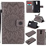 SMYTU LG Stylus 2 Case, LG G Stylo 2 LS775 Case,LG Stylo 2 Plus Case, Premium Emboss Sunflower Flip Wallet Shell PU Leather Magnetic Cover Skin with Wrist Strap Case (Grey)