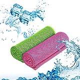 KATOOM 2PCS Toalla para Golf Toalla Microfibra Cooling Towel Toalla refrescante Enfiiar Temperatura en Verano Secar rápido Respirable Deporte Gimnasia Correr, Golf, Piscina(Verde, Rosa Rojo)10CM*30CM