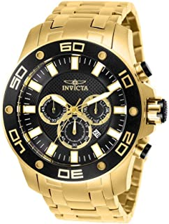 Men's Pro Diver Quartz Watch with Stainless Steel Strap, Gold, 30 (Model: 26076)