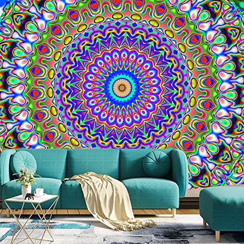 Psychedelic Tapestry Indian Hippie Mandala Tapestries Bohemian Trippy Peacock Boho Tapestry Wall Hanging for Bedroom, Living Room, Dorm Home Wall Decor(59x82 Inches, 150x210 cm)