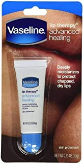 Vaseline Lip Therapy Advanced Petroleum Jelly, Skin Protectant, Travel Size .35 Oz, Pack of 12