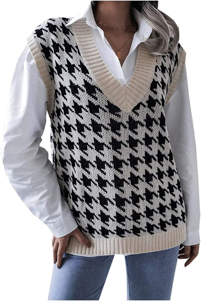 Ladyful Women's V Neck Plaid Knit Vest Sleeevelss Check Sweater Pullover Top Coat