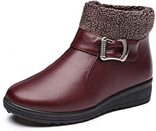 Mujer Botas de Nieve Zapatos Invierno Impermeables Calientes Botine Forradas Cortas Tobillo Boots de Cuero