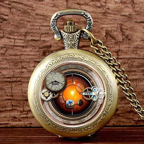 XTQDM Reloj de Bolsillo,Reloj de Bolsillo de Cuarzo Steampunk Liso de Moda de Bronce Negro Plateado Colgante de Acero Inoxidable para Hombres y Mujeres bronce1.38 Pulgadas