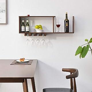 Étagère Étagères murales, Cabinet Wine Rack Display, baies mur en bois massif, étagères murales flottantes Upside Porte-Ba...