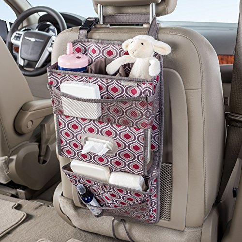High Road TissuePockets Backseat Organizer with Tissue Compartment and Cup Holder Bin (Sahara)