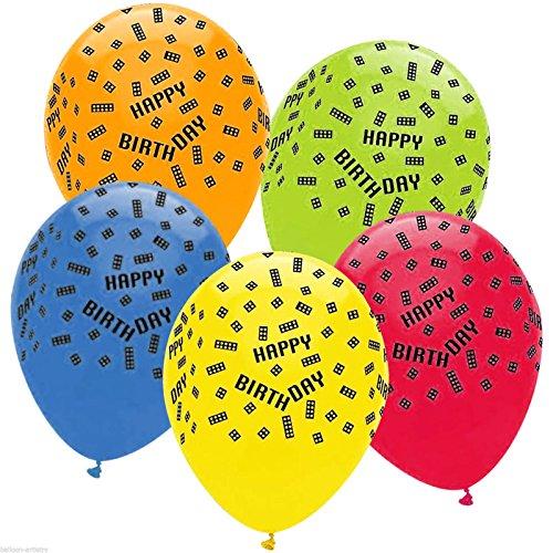 6 Latex-Ballons Block Bausteine Happy Birthday