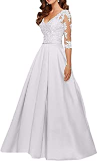 Women's V Neck 3/4 Sleeves Long Beaded Lace Mother of The Bride Dress W/ Pockets