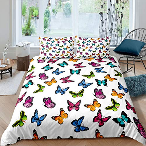 Girly Butterfly Duvet Cover Set Colorful Butterflies Print Comforter Cover for Kids Girls Woman Flying Insects Pattern Bedding 3D Animal Theme Quilt Cover Room Decor 3Pcs Bedclothes King Size
