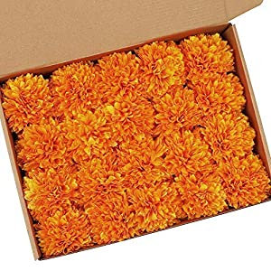 MACTING 20Pcs Artificial Chrysanthemum Ball Flowers Bouquet, Fake Flowers Silk Artificial Hydrangea Pack in Box for Wedding DIY Mother's Day Baby Shower Garden Wreath Home Decor Decoration(Orange)