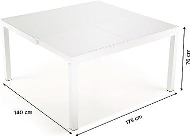 Soliving GABRIELLE Table Extensible Plateau, Verre Trempé, Blanc, 120 x 65 x 76 cm