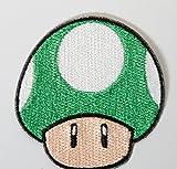Green Mushroom Patch 1up Embroidered Iron on Badge Applique Costume Cosplay Mario Kart / Snes / Mario World / Super Mario Brothers / Mario Allstars