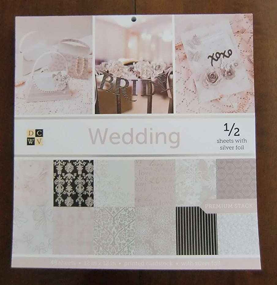 DCWV WEDDING Premium Stack 48 Sheets of 12 x 12 Printed Cardstock Scrapbooking