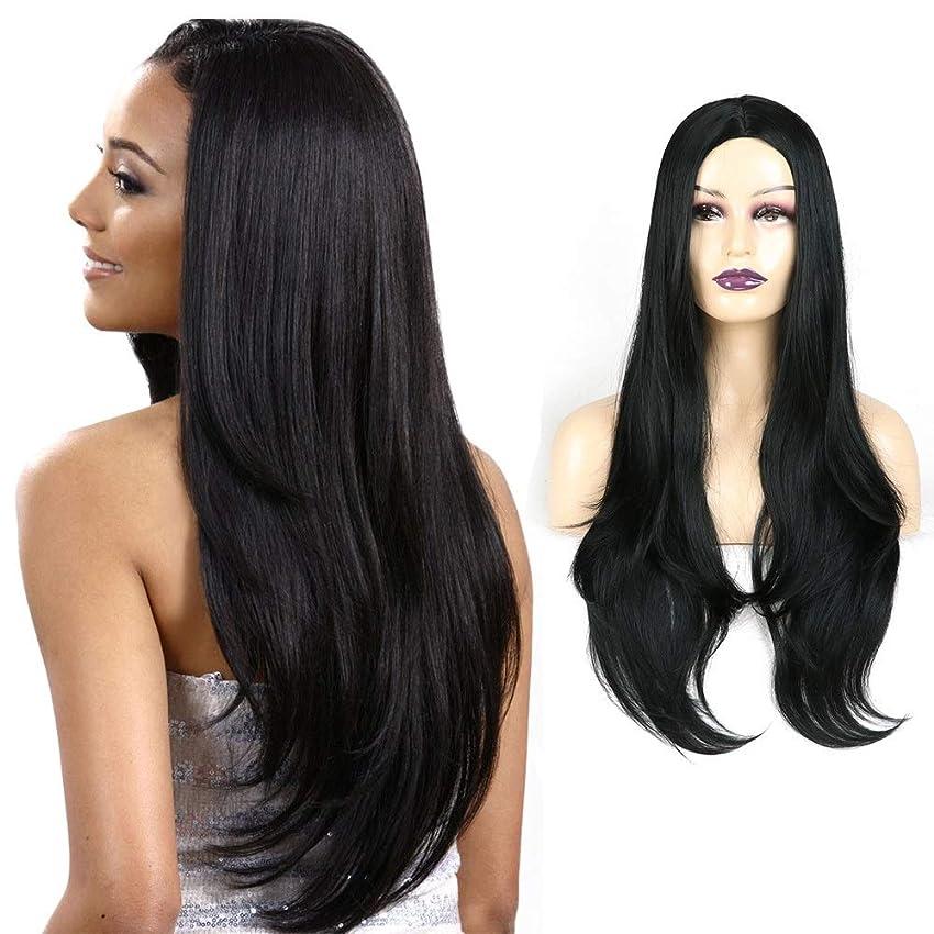 ピーク抗議ミシンHOHYLLYA 自然に見える黒実体波長い巻き毛の人工毛耐熱繊維長いストレートの髪 (Color : ブラック)