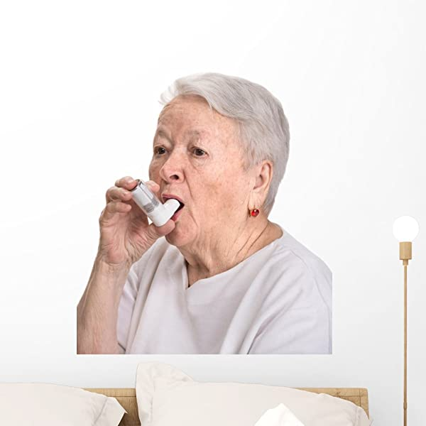 Wallmonkeys Senior Woman With Asthma Wall Decal Peel And Stick Graphic 24 In H X 21 In W WM335116