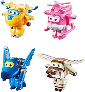 "Super Wings US710620 Transform-A-Bots Donnie, Dizzy, Jerome, Bello, Toy Figures, 2"" Scale"
