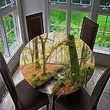 Mantel Antimanchas Redondo, Chickwin Patrón de Bosque Natural Mantel de Mesa Impermeable Diseño de Borde Elástico, Mantel Redondo para Comedor, Cocina y Picnic, Fiestas (Hoja de Arce,90cm)