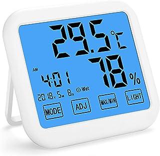 XYXZ Mini Higrómetro Higrómetro Digital Termómetro Pantalla Táctil Temperatura Medidor De Humedad Monitor MAX Min Record H...