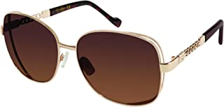 Jessica Simpson Women's J5512 Gldts Non-polarized Iridium Round Sunglasses, Gold Tortoise, 65 mm