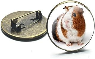 Carino Cavia Spilla Pin Retro Animal Art Photo Glass Cabochon Spille Per Le Donne Degli Uomini Vestiti Cappello Zaino Acce...