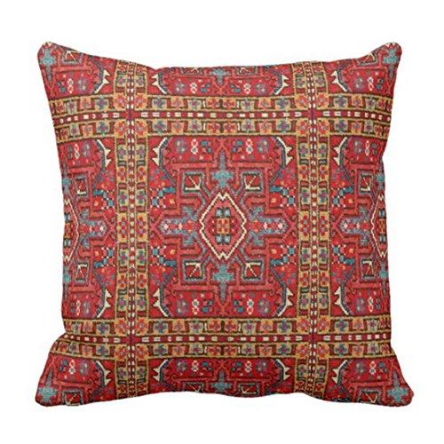 Funda de cojín de lino con cremallera oculta, color rojo, estilo vintage, de imitación de alfombra, color azul oriental, de 40,6 x 40,6 cm