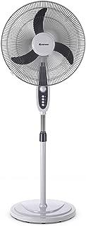 COSTWAY Pedestal Fan, 18-Inch Adjustable Height Standing Fan, 3-Speed Digital Control, Oscillating Pedestal Fan w/Timer (18-Inch)