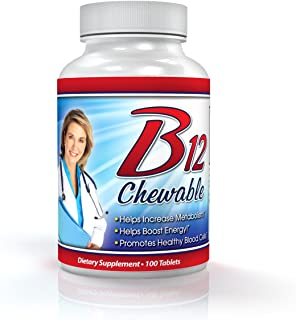 Vitamin B12 Chewable - 1000mcg, Methylcobalamin, Chewable Cherry Flavor - 100 Day Supply