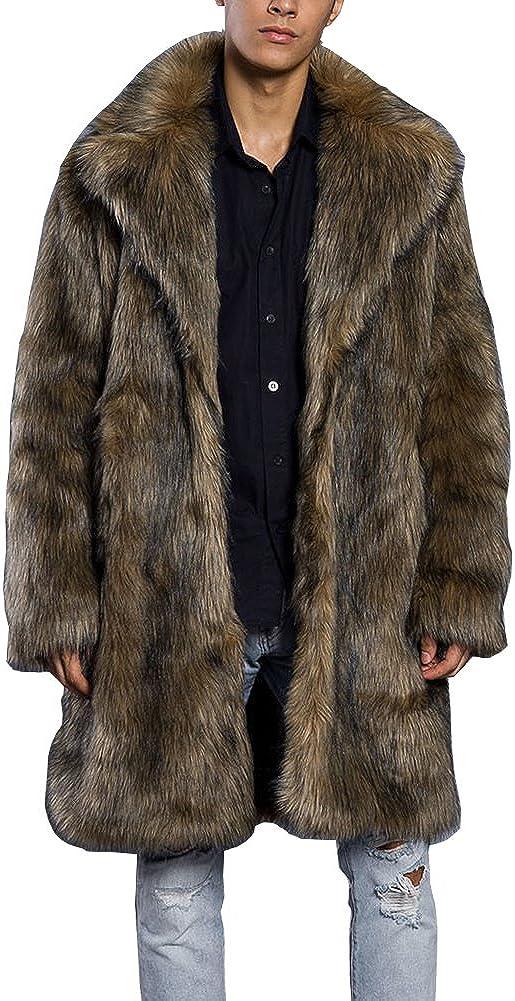 LIYT Men's Fashion Faux Fur Coat Long Winter Warm Coat Overcoat
