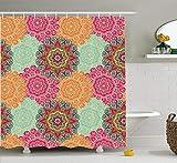 Ambesonne Mandala Shower Curtain, Antique Mandala Patterns Circles in Vintage Colors Native Tribal Ornamental, Cloth Fabric Bathroom Decor Set with Hooks, 75' Long, Fuchsia Orange