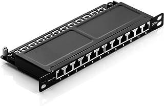 deleyCON CAT 6a 0,5U Patchpanel Mini Distributiepaneel 12-Poorts - Desktop 10 Inch Rackmount Servermontage RJ45 Afgescherm...