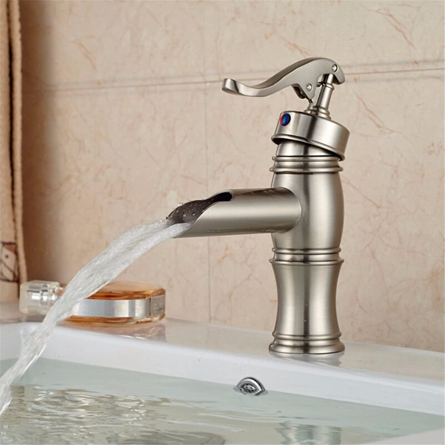 SADASD Modern High Quality Full Copper Bathroom Basin Faucet Single Treatment Waterfall Boat Sinking Deck Mountain Small Hot Cold Wash Basin Sink Taps Single Hole Single Handle Ceramic Valve Hot And Cold Water Mixer Tap With G1 2 Hose