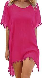 Damen Strandkleid Sommerkleid Bikini Cover Up Sommer Bademode Longshirt Tunika Strandponcho