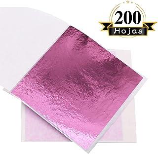 VGSEBA Pan de Oro de Imitación 200 hojas 8x8.5cm Lámina Dorada para Pinturas Artesanías Manualidades Uñas Muebles (Rosado)