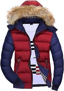 JiaMeng Hombre Invierno Cazadoras De Plumas Calor Grueso Moda Casual Bolsillo con Cremallera t/érmica Chaqueta de Cuero Top Coat