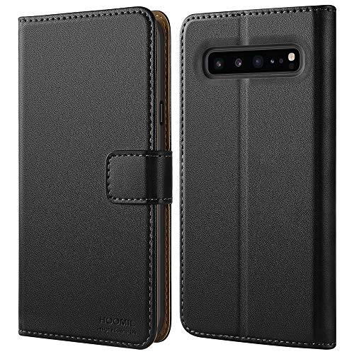 HOOMIL Handyhülle für Samsung Galaxy S10 5G Hülle, Premium PU Leder Flip Schutzhülle für Samsung Galaxy S10 5G Tasche, Schwarz