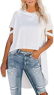 iTLOTL Womens Summer Short Sleeve Irregular Pure Color Blouse T-Shirt Tops