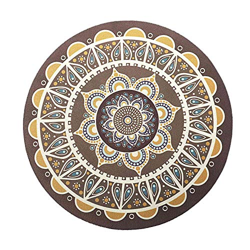 Iycorish Computer Mouse Pad Retro Bohemian Round Stitching Game Mouse Pad 20Th rubberen doek kleur, 26Th colore