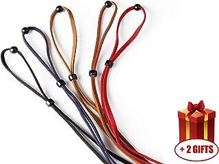 5 Pcs Eyeglasses Holder Strap Cord - Premium ECO Leather Eyeglasses String Holder Chain Necklace - Glasses Cord Lanyard - Eyeglass Retaine