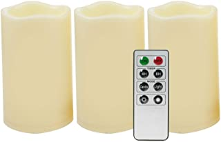 """iZAN Outdoor Flameless LED Candles with Remote & Timer - Long Lasting Waterproof Flickering Battery Operated Electric Pillar Candles Halloween Christmas Home Decor 3""""x5"""" 3-Pack"""