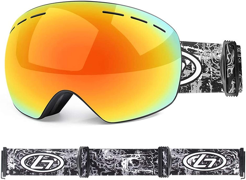 YHLL Ski Goggles, Adult Ski Goggles Double Anti-fog Men And Women Spherical Ski Glasses Outdoor Adult Ski Goggles