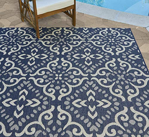 Gertmenian 21571 Coastal Tropical Carpet Outdoor Patio Rug, 8x10 Large, Navy Blue Floral Medallion