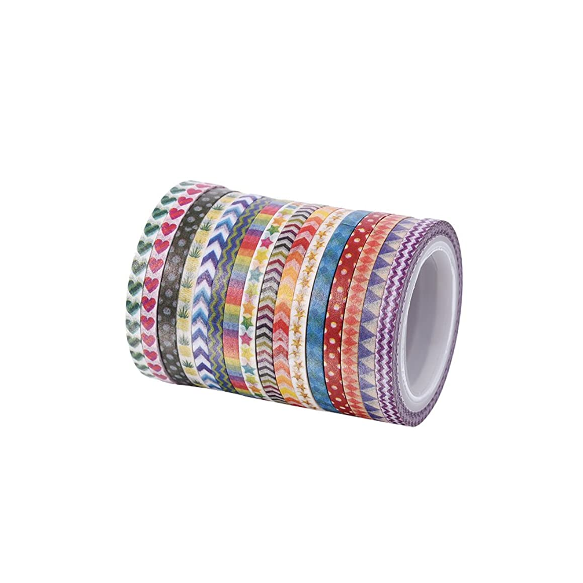 Cute 3mm wide skinny Washi Tape With Colorful Designs and Patterns - Perfect For Planners, Decorating, Scrapbooking